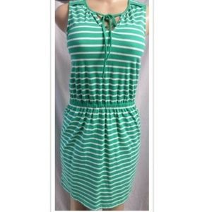 GREEN STRIPED KNIT CAREER CASUAL DRESS SIZE: XS